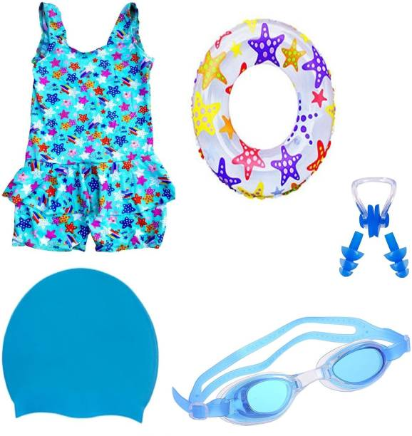 ArrowMax HIGH QUALITY Baby Girls BLUE SWIMMING COSTUME (3-4 Years) GOGGLES CAP 2 EARPLUG NOSE CLIP SWIMSUIT with Swim Ring Swimming Kit