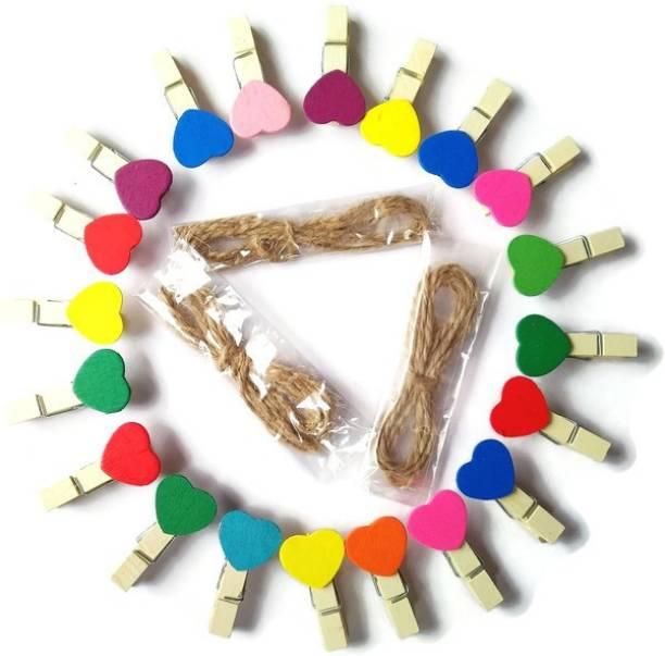 TickRight Multi Colour Mini Wooden Cute Heart