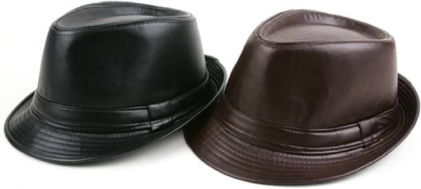 ZACHARIAS Leather Stylish Fedora Hat Black & Brown Pack of 2
