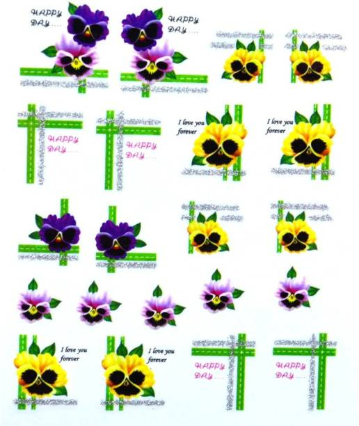 SENECIO® Happy Day Love Pansy Nail Art Manicure Decals Water Transfer Stickers 1 Sheet Size :6.2*5.2cm