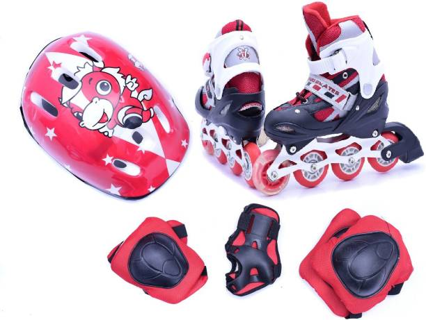 IRIS Kids Adjustable Inline Skates with Protective Pads, Gloves and Helmet In-line Skates - Size 1-3 UK