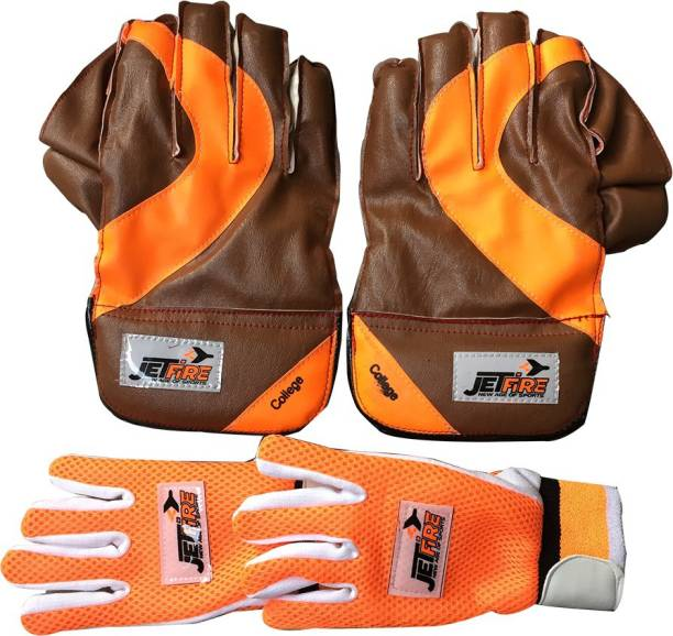 JetFire Basic College Wicket Keeping Gloves Combo with Inner Gloves (Multicolor) Wicket Keeping Gloves