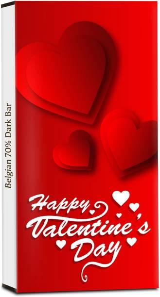 Chocholik Valentines Day Gift - Happy Valentine's Day My Love - 70% Dark Belgium Chocolate Bars