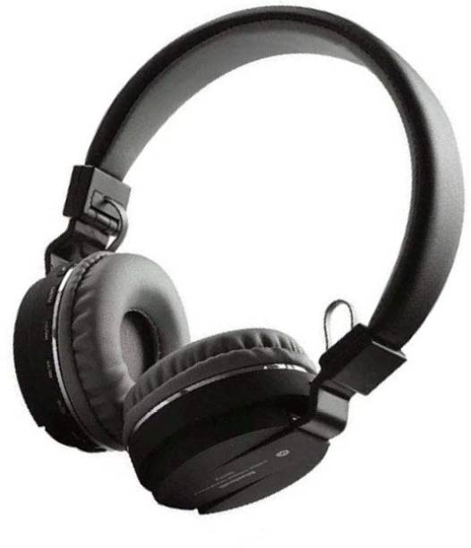 blue seed Wireless Headphone SH-12 with Tf card support function (Black) Bluetooth Headset