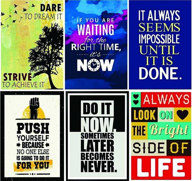 Combo Pack of 6 Motivational Wall Posters and Inspirational Quotes for Office and Home Photographic Paper