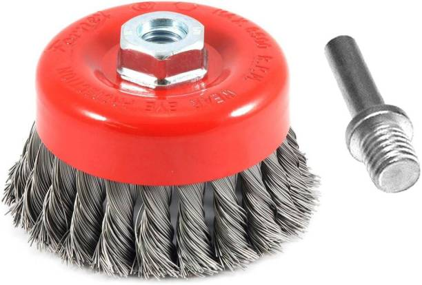 """ISC Drill Attachment + Twisted 3"""" (75mm) M-10 Thread Wire Cup Brush For Removing Rust , Paint as well as for Polishing Wheel Brush"""