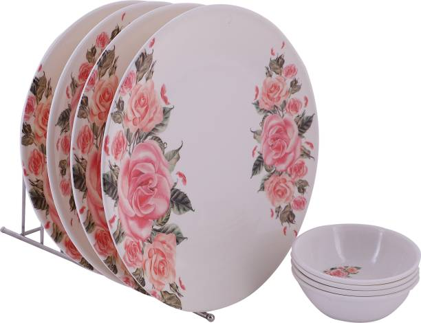 Golden Fish Pack of 8 Plastic Unbreakable Melamine Round Rose Print Full Dinner Plates (Set of 4 Plates & 4 Bowls) Dinner Set