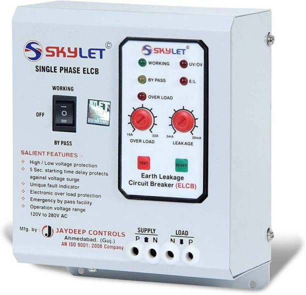 SKYLET Single Phase ELCB + RCCB with ADJUSTABLE OVERLOAD (up to 32A) with high & low voltage protection, Overload Protection, Adjustable Leakage current 3 to 30 mA (Shock Guard) with TEST REPORT ELCBMB32AMP MCB ELCBMB32AMP MCB