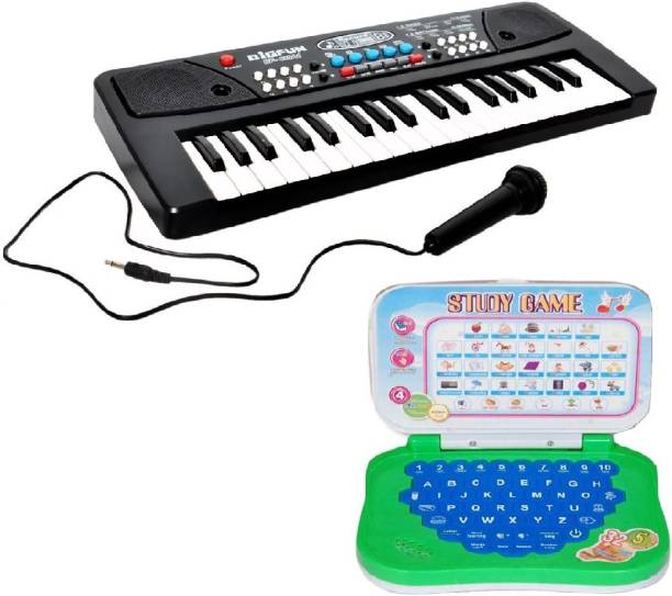 New Pcm 37 Key Piano Keyboard Toy with DC Power Option, Recording and Mic With learning English Mini Laptop for kids