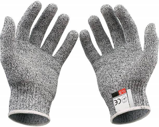 Wishpool Cut Resistant Gloves - High Performance Level 5 Protection, Food Grade FREE SIZE Synthetic  Safety Gloves