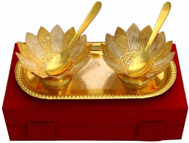 KUBER INDUSTRIES Gold Plated 2 Bowls, 2 Spoons, 1 Tray Set with a Wooden Box (Gold)-CTKTC4424 Bowl, Tray, Spoon Serving Set