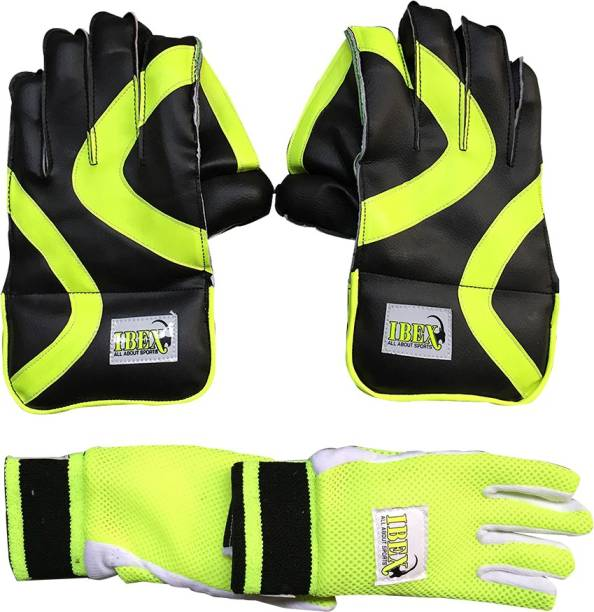 IBEX Youth Gloves Green Combo With Inner Gloves Age Group (9-14) Wicket Keeping Gloves