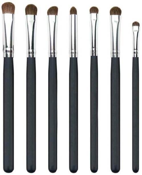 Futurekart Goat Hair Eyeshadow Brushes (Black and Silver, 124) - Set of 7