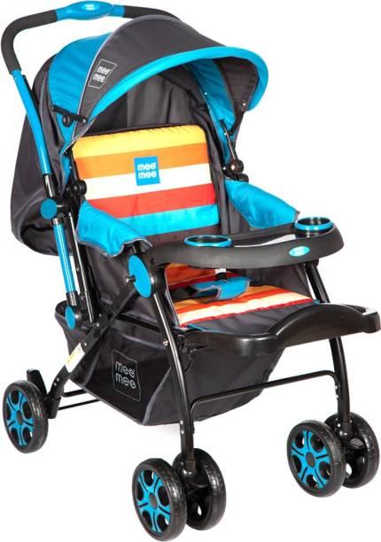 MeeMee Advanced Baby Pram with Shock Absorber Wheels (Blue) Pram