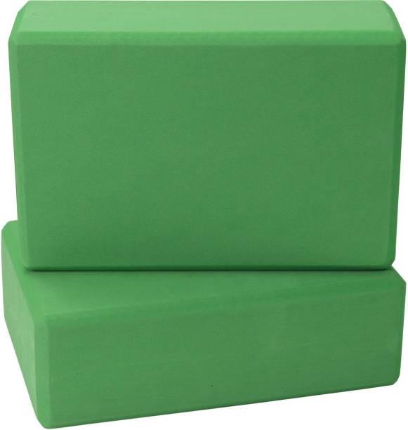 FITSY Moisture-Proof High Density Foam Yoga Block Brick, Pack of 2, Green Yoga Blocks