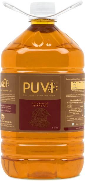 Puvi Cold Pressed Gingelly/Sesame Oil (Virgin, Chekku/Ghani) - 5 Litre Sesame Oil Plastic Bottle