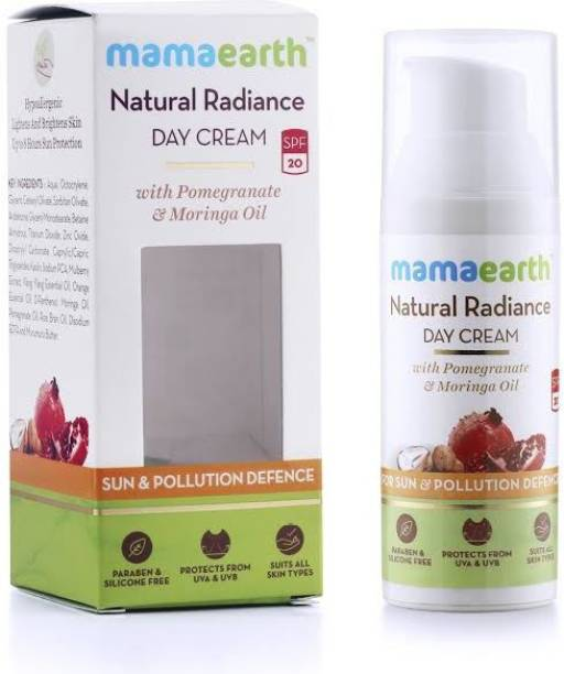 MamaEarth Day Cream with SPF 20+, Whitening and Tightening Face Cream with Moringa & Pomegranate Oil