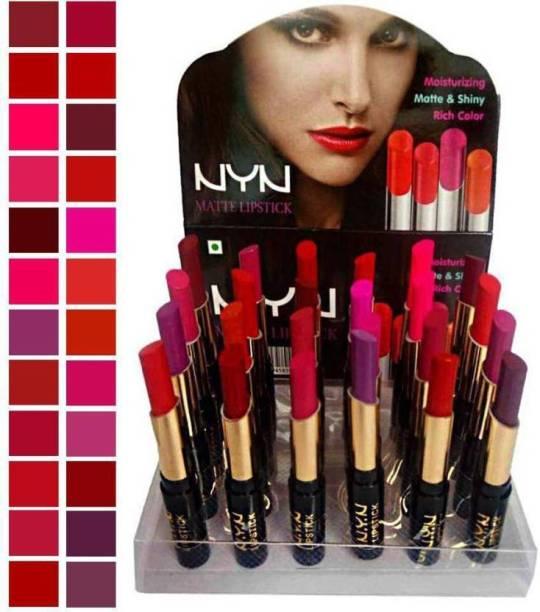 NYN Moisturzing Matte & Shiny Rich Color Lipstick Pack Of 24