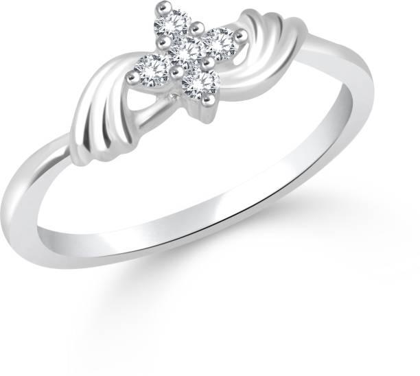 Divastri Delicate Alloy Cubic Zirconia Rhodium Plated Ring