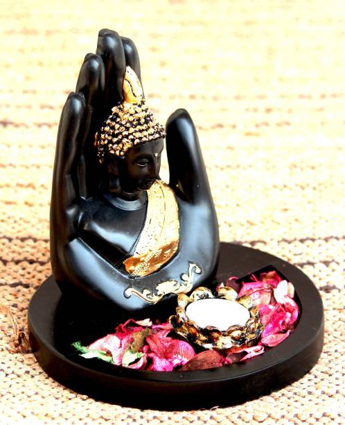 Craft Junction Handcrafted Palm Buddha With Tealight holder and Wooden Base Polyresin 1 - Cup Tealight Holder Set