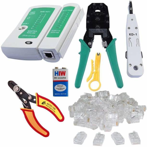 SHOPEE 002 Rj45 Rj11 Crimping, Multitec cutter, KD-1 Professional Punch Down Tool, Network Lan Cable Tester, 9V battery and 25 Pcs Connectors Manual Crimper