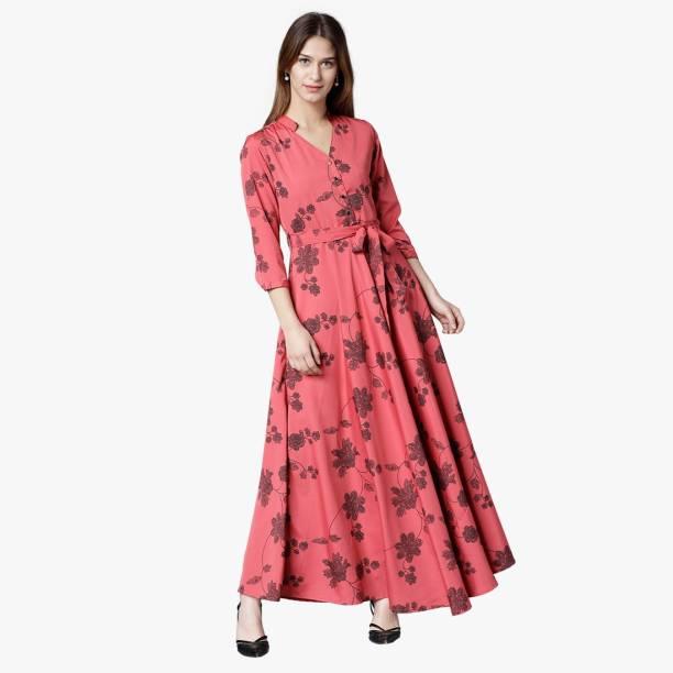 Tokyo Talkies Women Maxi Pink, Black Dress