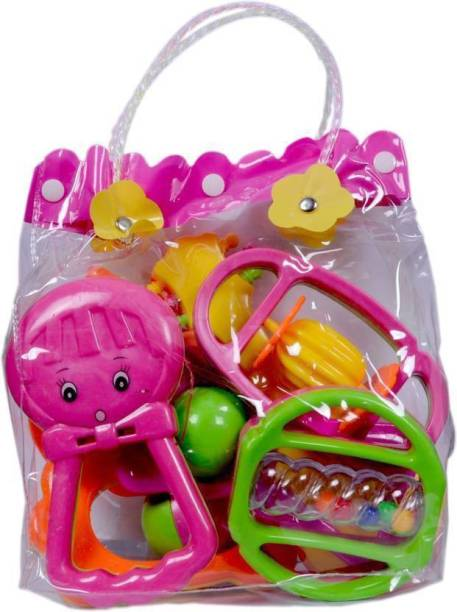 PS Aakriti Baby Rattle set of 8 pieces (Baby Jhunjhuna) Best Gift for newborn Babies Rattle (Multicolor) Rattle