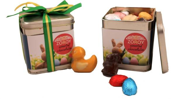 Zoroy Luxury Chocolate Easter Tin of 20 assorted bunnies, eggs and duck Fudges