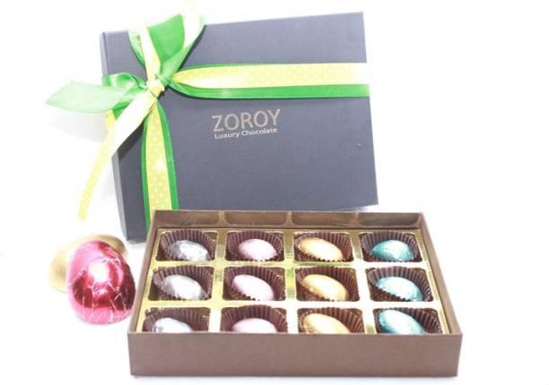 Zoroy Luxury Chocolate Easter Box of 12 milk chocolate eggs Fudges