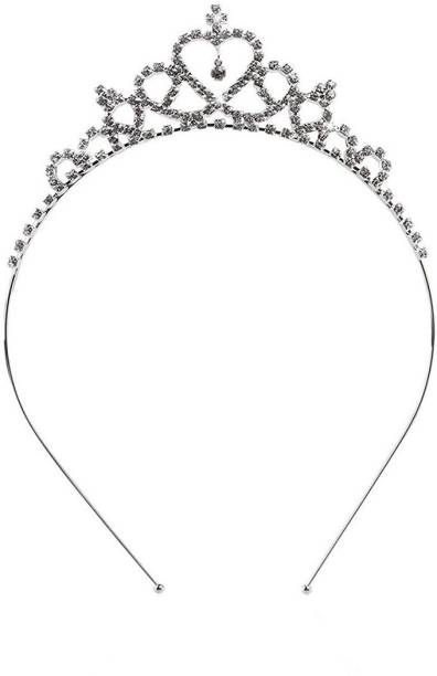 Futurekart Silver Pageant Prom Crystal Crown Tiara for Girls Hair Band