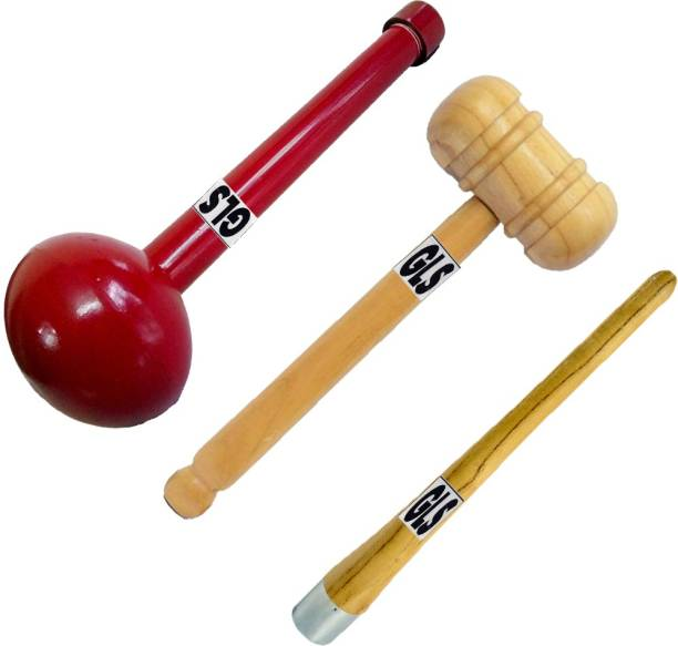 GLS (™) PU Polish 3 Pcs Cricket Bat Hammer Bat Mallet Ball Hammer Grip Cone Gripper Wood Bat Mallet