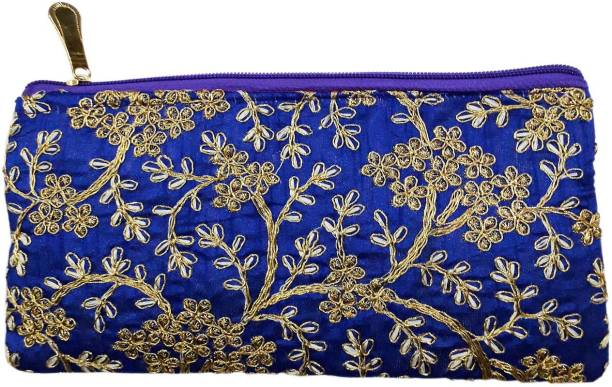 11cde778e077 Productmine Antique golden Color embroidered purse Zardozi embroidery  floral clutch Purse Mobile - BLUE Mobile Pouch