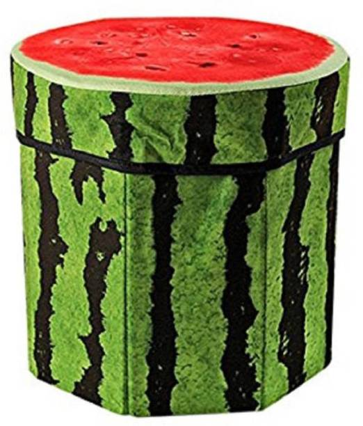 Kids Mandi Creative 3D Watermelon Design Multipurpose Foldable Velvet Storage Seat Box Living & Bedroom Stool