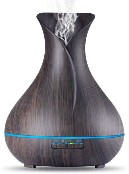 kapimo Electric Aroma Oil Diffuser Humidifier Flask Air Freshner with Changing LED Lights Light Wood Diffuser