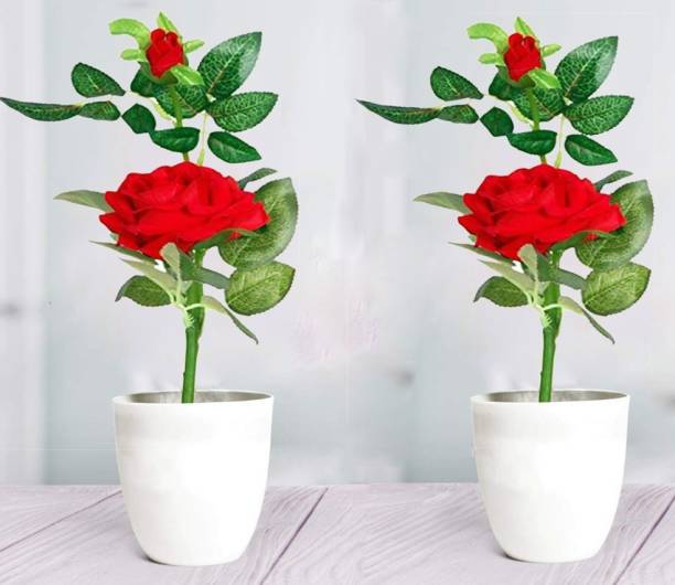 162a5557efd76 Litleo For Home Office Table Or Decoration Red Rose Artificial Flower with  Pot