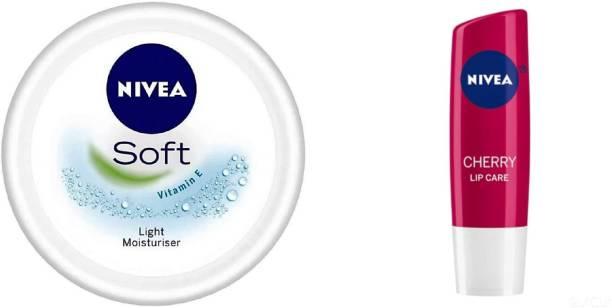 NIVEA Soft light Moisturizer (300 ML) & Shine Caring Lip Balm Cherry