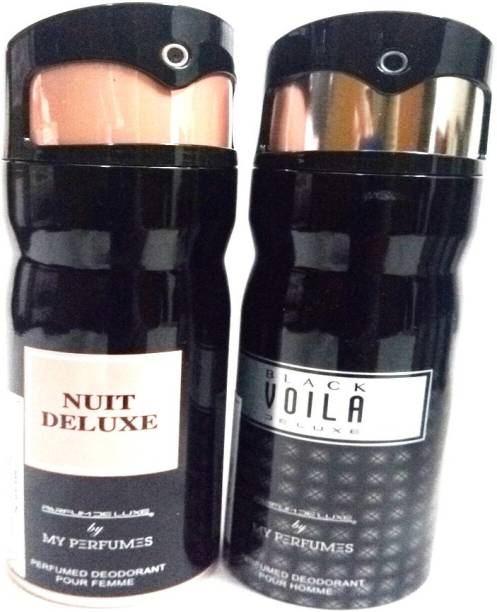 PARFUMDELUXE BLACK VOILA DELUXE AND NUIT DELUXE Deodorant Spray  -  For Men & Women