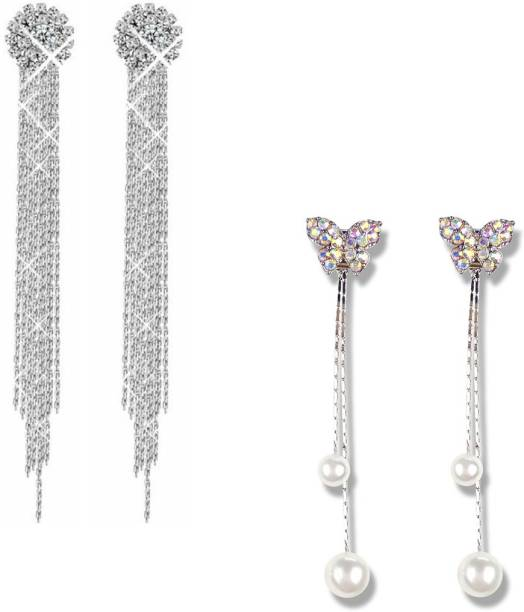 9ec4bd653ed3 Divastri Butterfly Flower Pearl Crystal Hanging Tassels COMBO 2 Pairs  Stylish Silver Earrings Pearl Metal