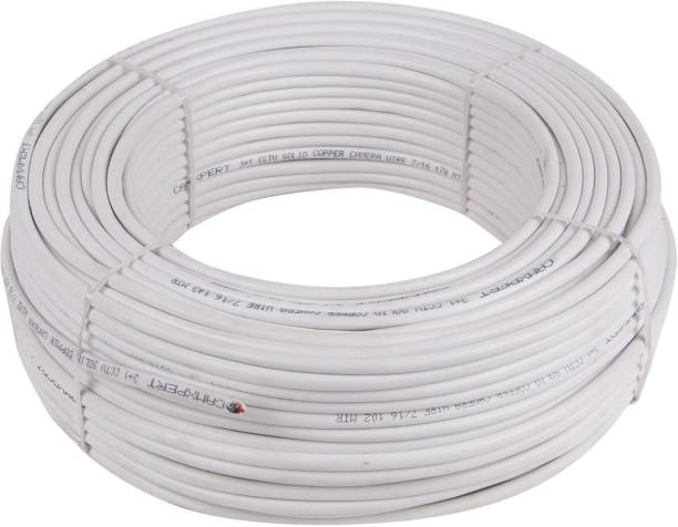 kathiriyas CCTV Wire Cable 3+1 Full Copper, Breding Alloy Mic Complete Video Transfer White 90 m Wire