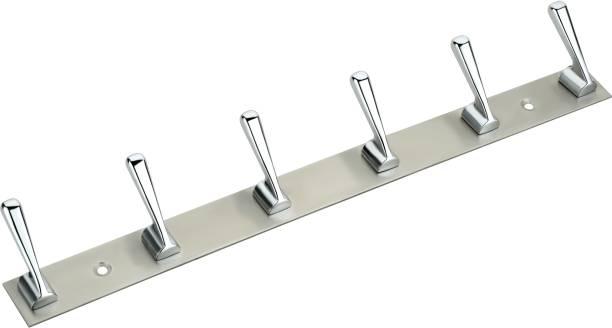 KEEPWELL 6 Pin Hook Stainless Steel Bathroom Cloth Hooks / Hanger / Key Holder / Door Wall Robe Hooks Rail for Hanging Keys, Clothes, Towel Hook Rail