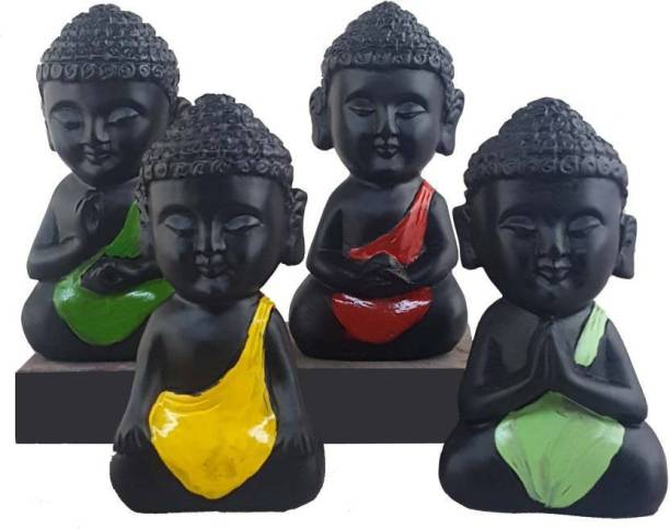 AapnoCrafts Set of 4 Child Monk Decorative Showpiece  -  10.5 cm