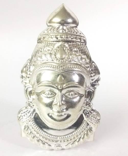 AMKL Silver Coated on Copper Laxmi Mukhota Decorative Showpiece  -  13 cm