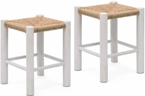 Powerpak Wooden Jute Mini Stool Ottoman Pouffe Stool Muddi Footstool for Living Room, Drawing Room, Office, Home, Bedroom, Balcony, Kids room, Garden Indoor / Outdoor Furniture - Set of 2 pcs. ( White) Stool