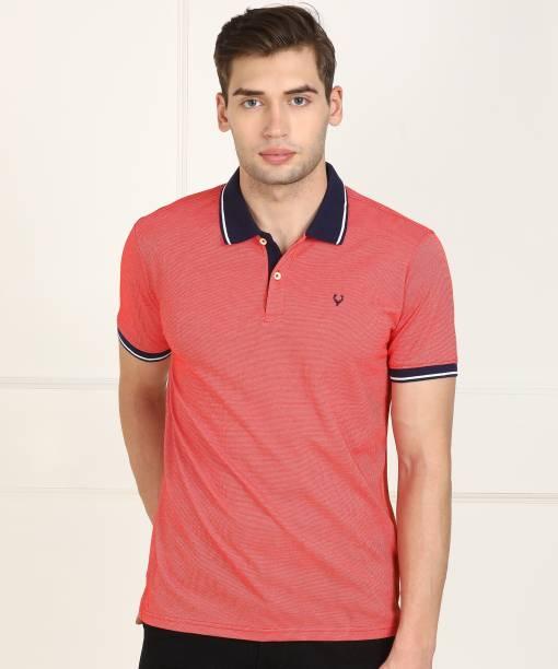 the latest 14f02 6dde1 Allen Solly Self Design Men Polo Neck Orange T-Shirt