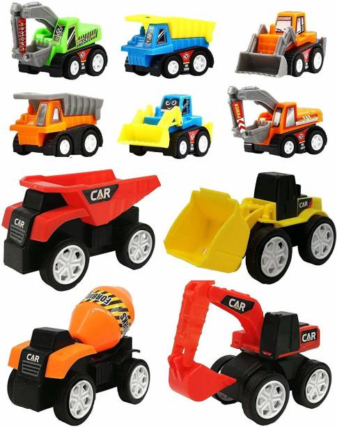 Wishkey 10 Pcs Construction Vehicles Pull Back Toy Cars Playset c33abfdbee62e