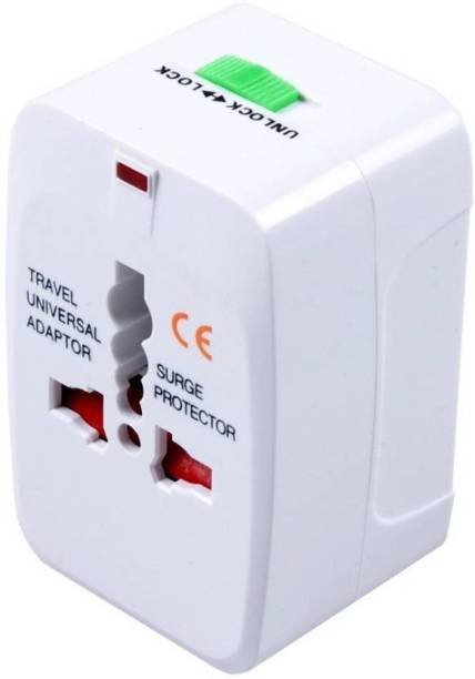 Eightiz Universal International Pocket Travel Charger Multi-Plug, AU/EU/UK/US/CN Worldwide Adaptor 16 A Three Pin Socket