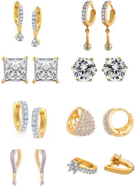 Zeneme White Ad American Diamond Combo Of 8 Drop Earrings Jewellery For Women S Alloy