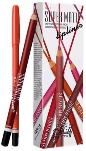 RTB SUPER MATTE LIP LINER( Set of 12 Creamy Lip Liner Pencils (Mix) (MULTI COLOUR)
