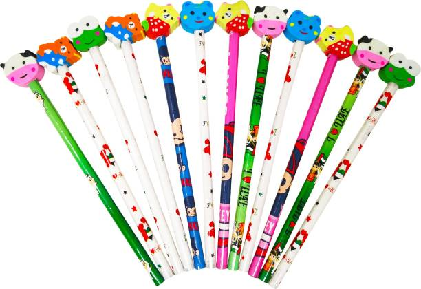 Parteet Birthday Party Return Gifts, Extra Dark Pencils with Eraser for Kids (Pack of 12) Pencil