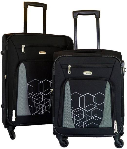 9df2b8d0fe36 Timus Morocco SPINNER 55   65cm BLACK Travel Combo Expandable Check-in  Luggage - 24